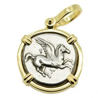 Greek 350-300 BC, Pegasus and Athena stater in 14k gold pendant.