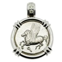 Greek Corinth 375-300 BC, Pegasus and Athena stater in 14k white gold pendant with diamonds.