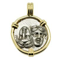 Greek 400-350 BC, Gemini Twins of Istros drachm in 14k gold pendant.