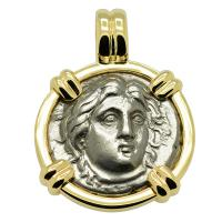 Greek 340-316 BC, Sun God Helios and rose didrachm in 14k gold pendant.