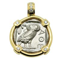 Greek 454-404 BC, Owl & Athena tetradrachm in 14k gold pendant with diamonds.