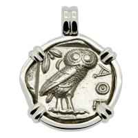 Greek 454-404 BC, Owl and Athena tetradrachm in 14k white gold pendant.
