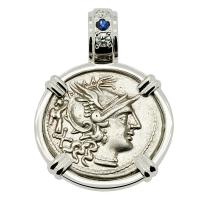 Roman Republic 147 BC, Roma and Dioscuri denarius in 14k white gold pendant with diamonds and sapphire.