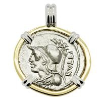 Roman Republic 100 BC, denarius with Minerva and Victory Chariot in 14k white and yellow gold pendant.