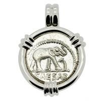 Roman Republic 49-48 BC, Julius Caesar Elephant denarius in 14k white gold pendant.