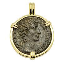 Roman Empire 5-4 BC, Emperor Caesar Augustus bronze coin in 14k gold pendant.