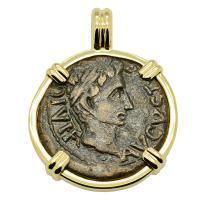 Roman Empire 27 BC - AD 14, Emperor Caesar Augustus semis coin in 14k gold pendant.