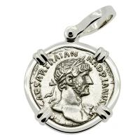 Roman Empire AD 119-121, Hadrian and Concordia denarius in 14k white gold pendant.