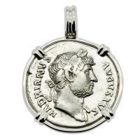 Roman Empire AD 125, Hadrian and Liberty denarius in 14k white gold pendant.