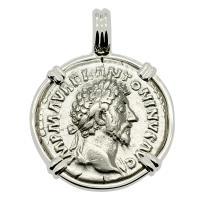 Roman Empire AD 162, Marcus Aurelius and Providentia denarius in 14k white gold pendant.