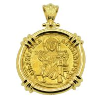 Byzantine 867-879, Jesus Christ with Basil I & Constantine Solidus in 18k gold pendant.