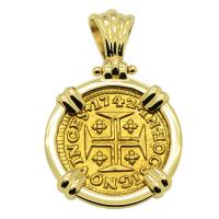 Portuguese 400 Reis dated 1742, with cross and crown in 14k gold pendant.
