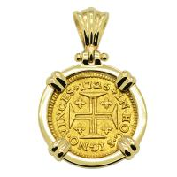 Portuguese 400 Reis dated 1725, with cross and crown in 14k gold pendant.