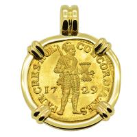 Dutch Ducat dated 1729 in 18k gold pendant, 1735 Dutch East Indiaman Shipwreck Zealand.