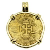 Spanish 4 escudos 1566-1590, in 14k gold pendant.