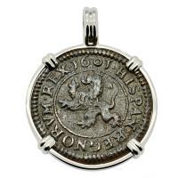 Spanish 4 maravedis dated 1601, in 14k white gold pendant.