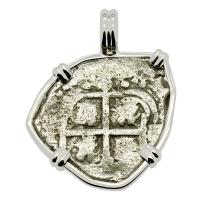 Colonial Spanish Peru, King Philip IV one real dated 1653, in 14k white gold pendant.