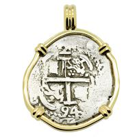 Colonial Spanish Peru, King Charles II two reales dated 1694, in 14k gold pendant.