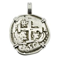 Colonial Spanish Peru, King Ferdinand VI two reales dated 1750, in 14k white gold pendant.