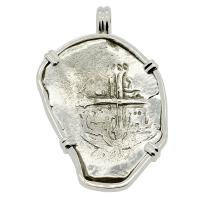 Spanish 4 reales 1634-1641, in 14k white gold pendant, 1641 Shipwreck Silver Shoals Dominican Republic.