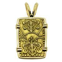 Japanese Shogun 1859-1869, gold nibu-kin in 14k gold pendant.