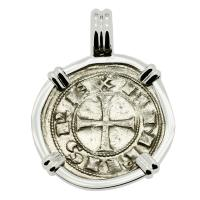 Toledo, Spain 1085-1109, King Alfonso dinero in 14k white gold pendant.