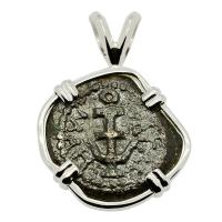 Holy Land 40 BC - AD 4, Biblical Widow's Mite in 14k white gold pendant.