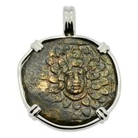 Greek 120-63 BC, Medusa and Nike bronze coin in 14k white gold pendant.