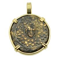 Greek 120-63 BC, Medusa and Nike bronze coin in 14k gold pendant.