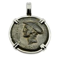 Greek 150-110 BC, Messenger of the Gods, Hermes bronze coin in 14k white gold pendant.