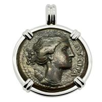Greek Syracuse 317-289 BC, Artemis and winged lightning bolt bronze litra coin in 14k white gold pendant.