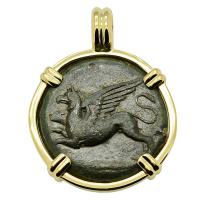Greek Syracuse 367-344 BC, Griffin and Horse bronze hemilitron in 14k gold pendant.