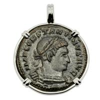 Roman Empire AD 315–317, Constantine & Sol follis in 14k white gold pendant.