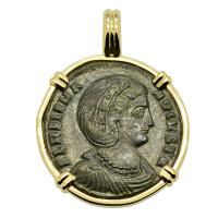 Roman Empire AD 324–327, Saint Helena follis in 14k gold pendant.