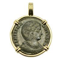 Roman Empire AD 324–327, Saint Helena follis in 14k gold pendant.