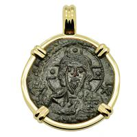 Byzantine 1078–1081, bronze follis in 14k gold pendant.