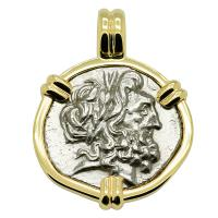 Greek 196-146 BC, Zeus and Athena stater in 14k gold pendant.