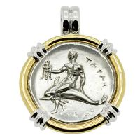 Greek - Italy 280-272 BC, Taras riding Dolphin and Horseman nomos in 14k white & yellow gold pendant.