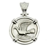 Greek 330-280 BC, Dove and Chimaera triobol in 14k white gold pendant.
