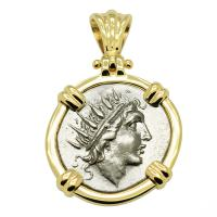 Greek 88-84 BC, Sun God Helios and rose drachm in 14k gold pendant.