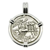 Roman Republic 132 BC, Victory Chariot and Roma denarius in 14k white gold pendant.