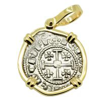Cyprus 1324-1340, Gros Petit Crusader coin in 14k gold pendant.