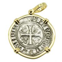 French 1385-1417, King Charles VI Blanc Guenar in 14k gold pendant.