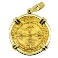 French 1483-1498, Charles VIII ecu d'or au soleil in 18k gold pendant.