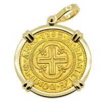 Portuguese Brazil 4000 Reis dated 1753, with cross and crown in 14k gold pendant.