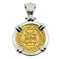 Portuguese 400 Reis dated 1720, with cross and crown in 14k white gold pendant.