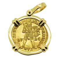Dutch Ducat dated 1724 in 18k gold pendant, 1725 East Indiaman Shipwreck Norway.