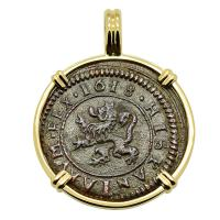 Spanish 4 maravedis dated 1618, in 14k gold pendant.