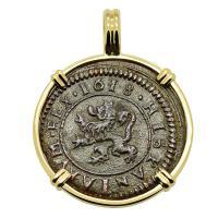 Spanish 4 maravedis dated 1618, in 14k gold pendant.