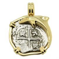 Colonial Spanish Peru, King Charles II one real dated 1679, in 14k gold dolphin pendant.